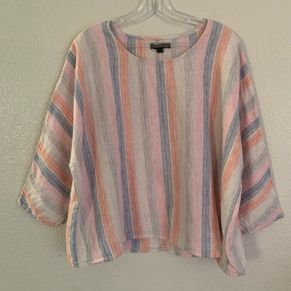 For Cynthia | 100% linen striped slouchy top M